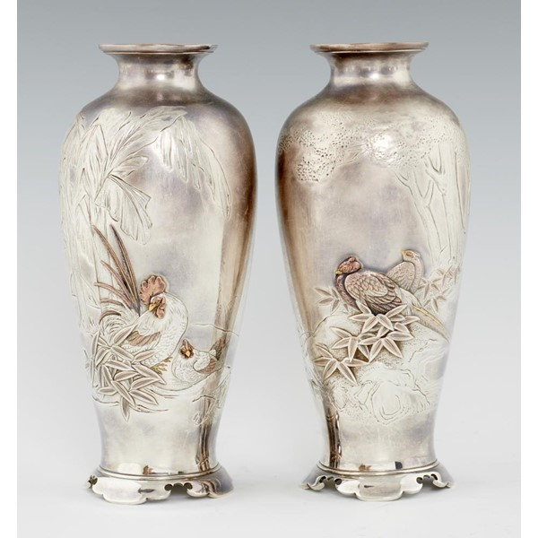 JAPANESE SILVER AND MIXED METALS VASES Image