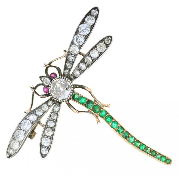 DIAMOND AND EMERALD DRAGONFLY BROOCH Image