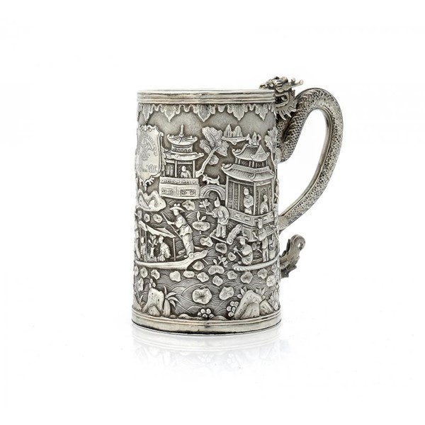 CHINESE SILVER DRAGON HANDLED MUG Image