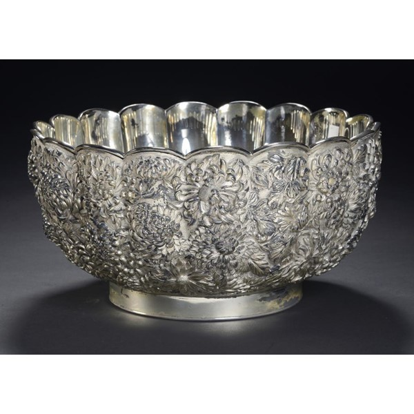 JAPANESE SILVER PLATED KIKU PUNCH BOWL Image